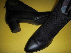 LOGO-Lori-Goldstein-Clemence-Leather-Booties-w-Sock-Detail-Women-039-s-8-5-M-Black