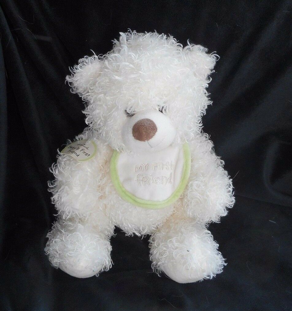 10  HALLMARK BABY'S MY FIRST 1ST FRIEND BIB CREME TEDDY STUFFED ANIMAL PLUSH TOY