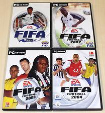 4 PC SPIELE SAMMLUNG - FIFA 2001 2002 2003 2004 - SOCCER FOOTBALL FUSSBALL EA