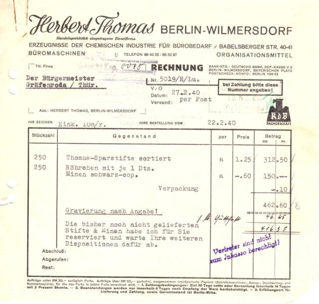 Rechnung, Fa. Herbert Thomas, Berlin Wilmersdorf, 27.2.40