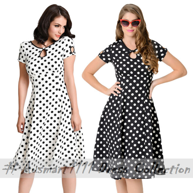Vintage Pin Up Polka Dots Swing Skater Summer Casual Short Sleeve Keyhole Dress