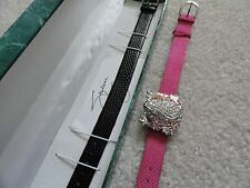 New (Frog) Suzanne Somers Quartz Ladies Watch with Two Leather Bands