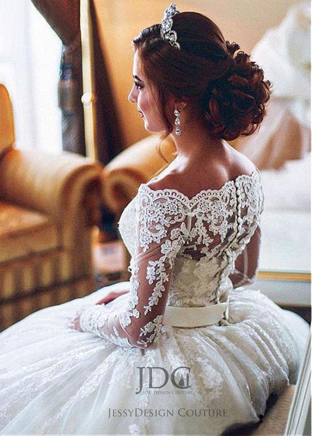 Spitze Brautkleid Hochzeitskleid Off-Schulter Langarm Gr.32-46 lange Schleppe | Outlet Store  | Qualität und Verbraucher an erster Stelle  | Online Kaufen