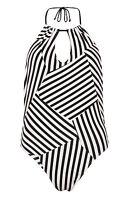 Ladies STRIPED Swimming Costume Swimsuit Primark KEYHOLE HALTERNECK LOW BACK