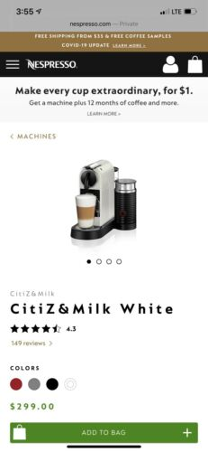 NESPRESSO BRAND NEW - Factory SEALED -  CITIZ with MILK FROTHER Model D123 White