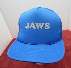 209039a54 Jaws Movie Trucker Hat Shark Promo Logo! Blue Vintage Style Snapback ...