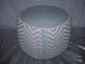Details About Vintage Woven Rope Nautical Blue White Hassock Ottoman Pouf Footstool Retro