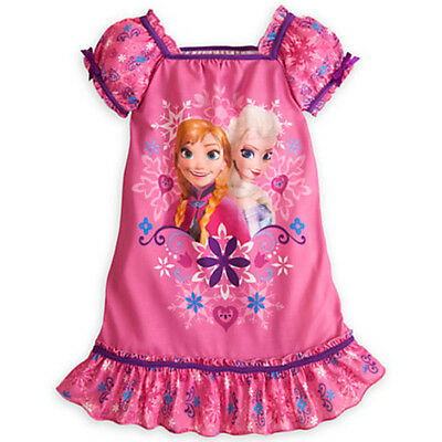 NWT Disney Store Frozen Anna and Elsa Nightgown Nightshirt Long Sleeves NEW 3 4