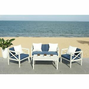 Safavieh Outdoor Living Nunzio 4 Piece Set- White / Navy ... on Safavieh Outdoor Living Montez 4 Piece Set id=30176
