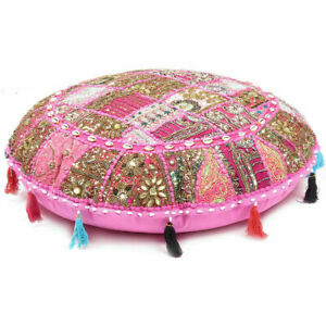 """BEAUTIFUL EMBRODIERED 32"""" PINK FLOOR CUSHION COVER HOME DECOR THROW SOFA CASE"""