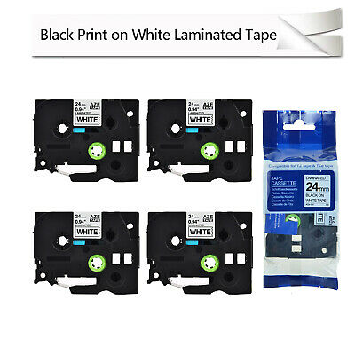 """4PK Black on White Label Tape TZe251 TZ251 For Brother P-Touch PT-2610 24mm 1/"""""""
