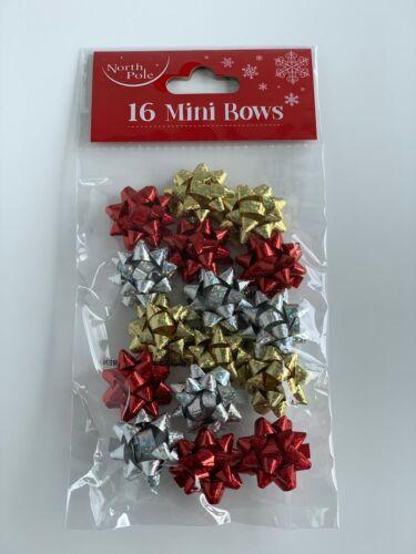 16 mini Bows-Rouge//Or//Argent-Noël