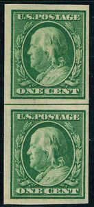 #343 VERTICAL PAIR WITH HORIZONTAL LINE 1909 1c IMPERF ISSUE MINT-OG/NH
