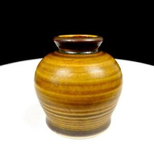 LOUIS-MIDEKE-SIGNED-STUDIO-POTTERY-SPECKLED-BROWN-WHEEL-THROWN-SMALL-3-1-4-034-VASE