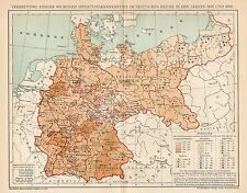 B6376 Germany - Spread infectious diseases - Carta geografica del 1904 - Old map