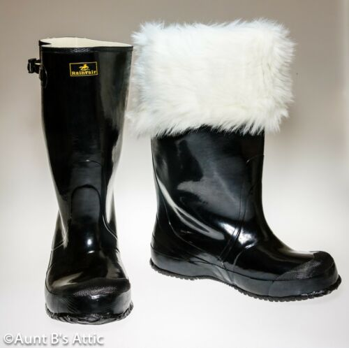 Santa Boots Industrial Shiny Black Rubber Pull On Water Proof Boot Boot Only
