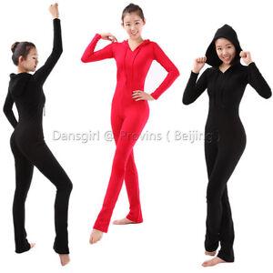 Dansgirl Women Long Sleeve Ballet Dance Gymnastic Bodysuit Hoodie Unitard Black
