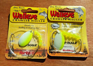 2x-GLOW-034-Mr-Walleye-034-Crawler-Hauler-Spinner-Rigs-2-Hooks-Northland-Tackle