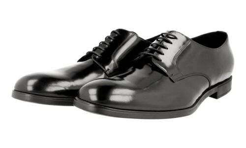 AUTH LUXURY PRADA BUSINESS SHOES DERBY DNC100 BLACK NEW 9 43 43,5