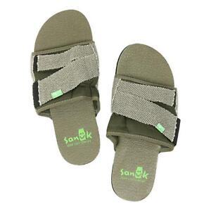 Sanuk-Mens-Beer-Cozy-2-Slide-Sandals-Dark-Olive-9-New