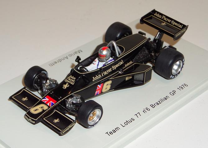 1/43 Spark Lotus 77 car  6 1976 Brazilian GP Mari Andretti S1779 with JPS decals