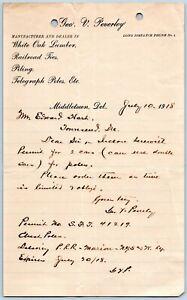 1918-MIDDLETOWN-DELAWARE-DE-GEO-V-PEVERLY-LUMBER-RAILROAD-TIES-WHITE-OAK-PILING