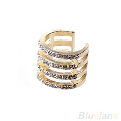 Fashion Gold/Silver Stack Plain/Crystal Above Knuckle Band Mid Finger Tip Ring
