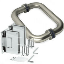 Frameless Shower Door Hinge and Pull Handle Set Brushed Nickel Stainless Steel