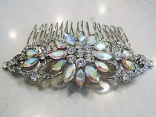 Crystal flowers silver hair comb  barrette  clip bridal clip silver bridal barre