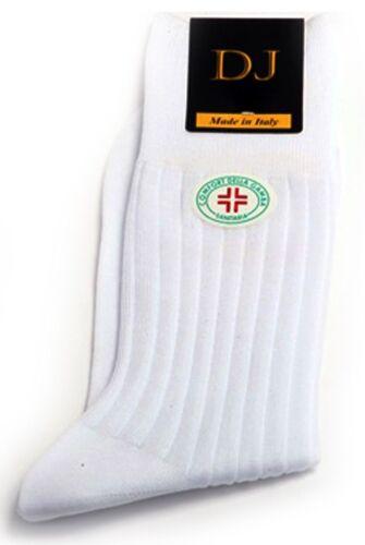 6 Pair Men/'s BIANCO Mid-Calf DIABETIC Socks 100/% cotone design a righe regalo