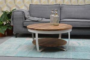Details Zu Design Beistelltisch Couchtisch Rund Rob O 65 Cm Mangoholz Mango Holz Metall