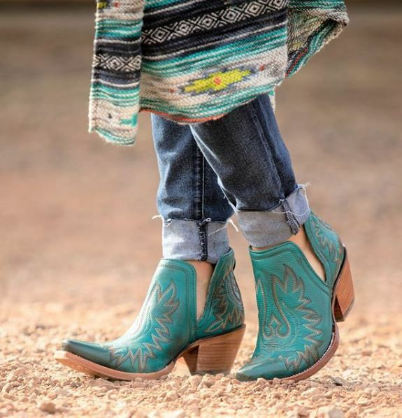 Ariat Women's Dixon Agate Green Snip Toe Ankle Shortie Boots 10027280