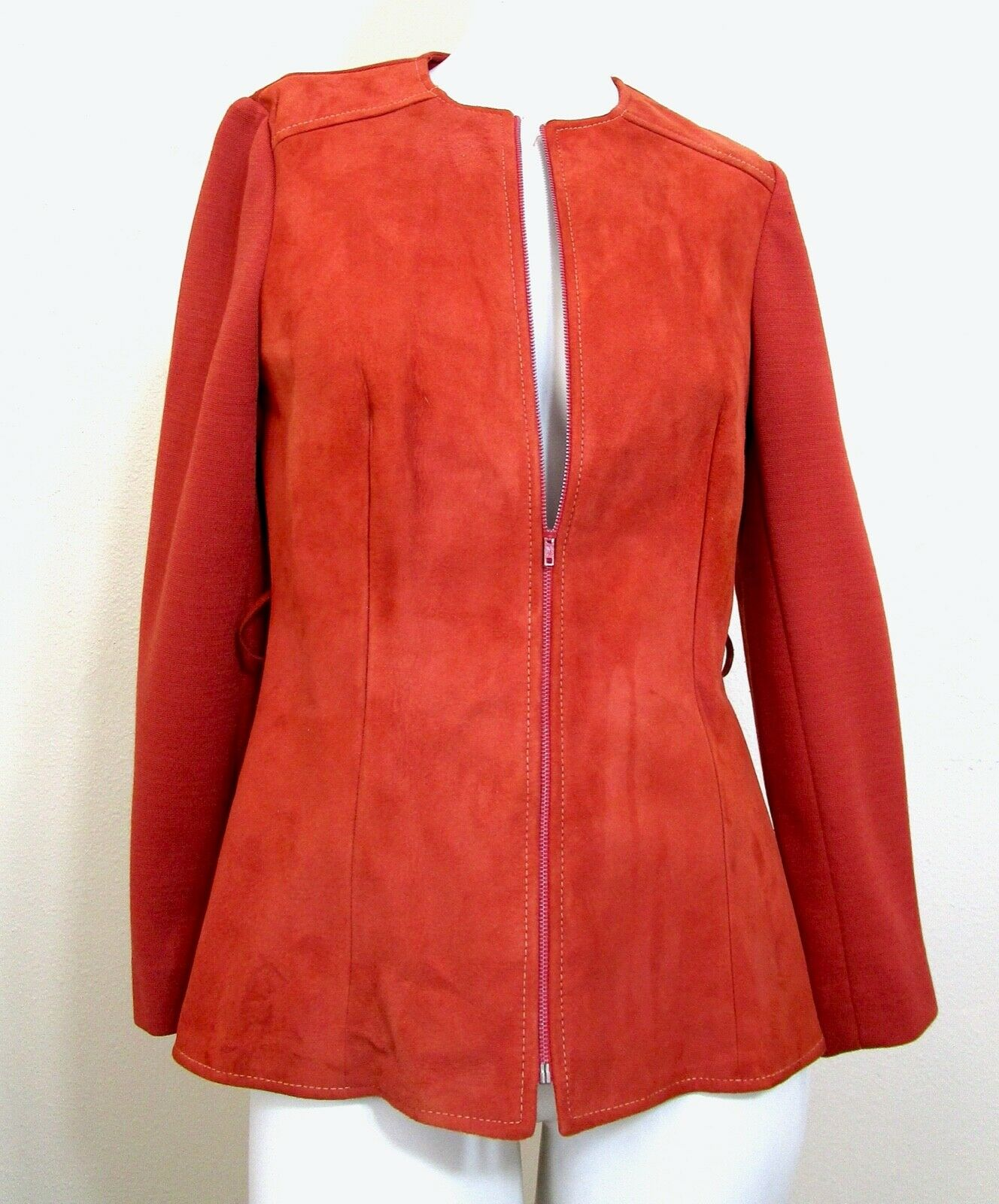 Vintage 70s Mod Orange PSI Leather Process Suede … - image 2