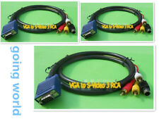 HD15 VGA Male to 3 S-Video RCA Male AV TV Adapter Cable Laptop PC 1.5M practical