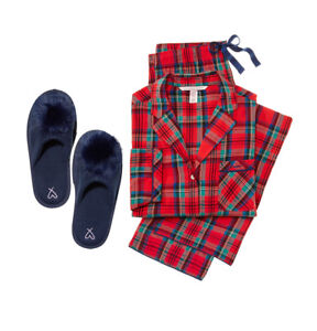 2891aa776 Victoria s Secret Flannel PJ Pajama set red green navy slipper plaid ...
