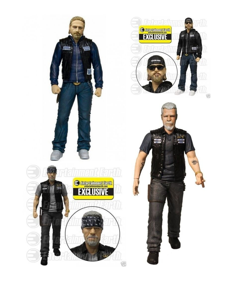 Sons of anarchy jax teller & clay morrow action - figuren von 4 mezco