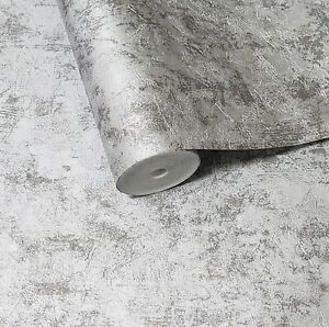 Modern-Wallpaper-Silver-Grey-Metallic-foil-plain-plaster-Concrete-textured-roll