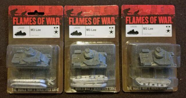 Flames of War American - US030 US M3 Lee Medium Tank - Lot of 3 - Mid War