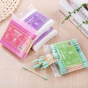 100PCS-Mini-Cotton-Swabs-Swab-Applicator-Q-tip-Double-Tip-Wooden-Sticks-NEW