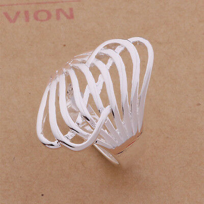 925 Silver Plated Big Hollow Ring Thumb / Ring Women Fashion Jewelry UK Size P