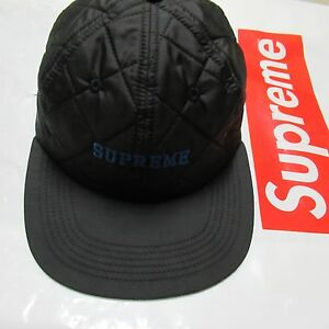 738cb8df7b3 Image is loading Supreme-Quilted-Nylon-6-Panel-F-W14-Black