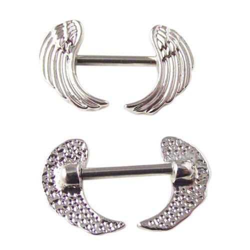 2xalas quirúrgicas pezón escudos barra ombligo anillo cuerpo piercing joyería XM