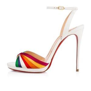 577df8ec9b2f Image is loading Christian-Louboutin-NASEEBA-120-Leather-Rainbow -Heels-Sandals-