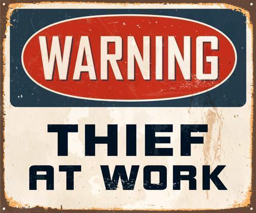 Pared Arte Novedad 28 Ladrón de advertencia en el trabajo Vinyl-Pegatina-Calcomanía-Laptop