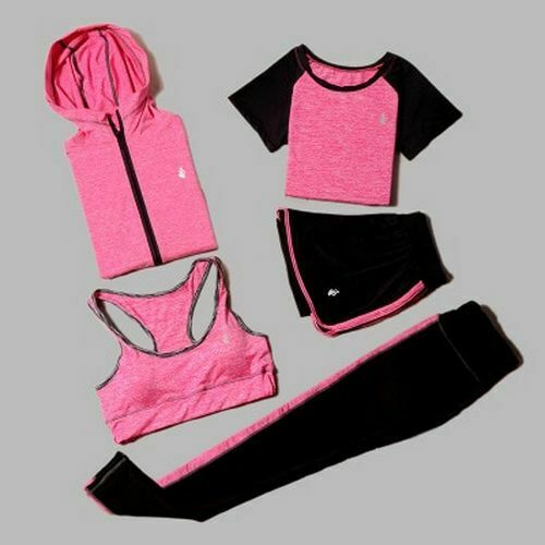 Women/'s Breathable Sports Yoga T-shirt Bra Clothing With Shorts And Leggings Set