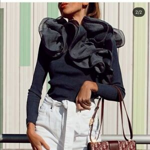 ZARA-NEW-AW19-ANTHRACITE-GREY-RIBBED-TOP-WITH-RUFFLES-SIZE-L-REF-2142-143
