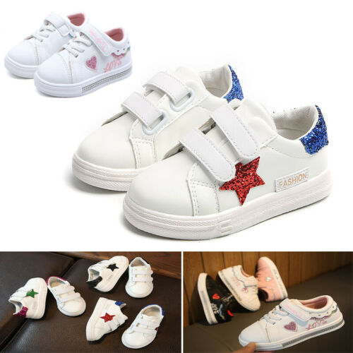 BOYS GIRLS WHITE TRAINERS INFANT TODDLER SPORTS SHOES KIDS SOFT SLIP ON SNEAKERS