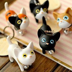 Ee-Gn-Precioso-Gatito-Gato-Llavero-Campana-Amante-Anillo-Bolso-Diciembre