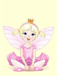 ART-PRINT-POSTER-NURSERY-FAIRY-PINK-DRESS-WINGS-CROWN-KIDS-BEDROOM-LFMP0798