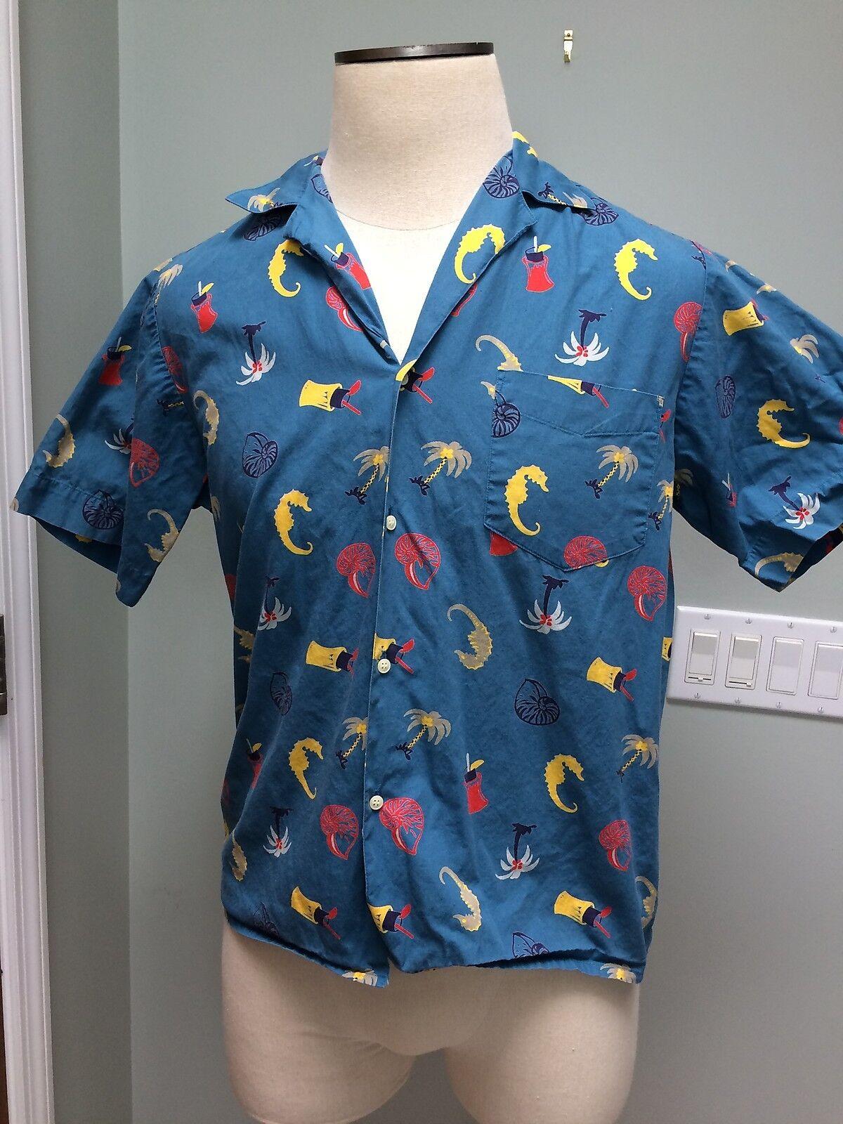 M - RARE Vtg Vtg RARE Izod Lacoste S/S Hawaiian Shirt Tiki Tropical Cotton 1970's bb6d43